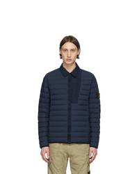Мужская темно-синяя куртка-пуховик от Stone Island