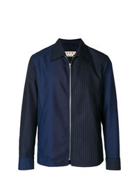 Темно-синяя куртка-рубашка в вертикальную полоску