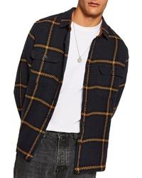 Темно-синяя куртка-рубашка в шотландскую клетку