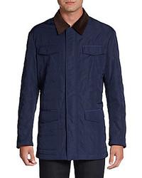 Темно-синяя куртка с воротником и на пуговицах