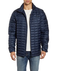 Темно-синяя легкая куртка-пуховик