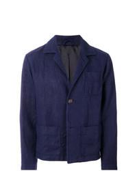 Темно-синяя льняная куртка-рубашка