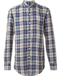 Мужская темно-синяя льняная рубашка с длинным рукавом в шотландскую клетку от Salvatore Piccolo