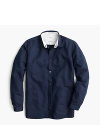Темно-синяя льняная рубашка с длинным рукавом