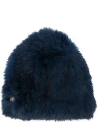 Женская темно-синяя меховая шапка от Yves Salomon