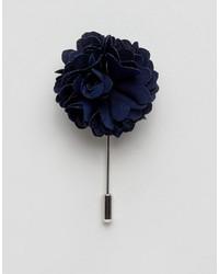 Темно-синяя мужская брошь с цветочным принтом