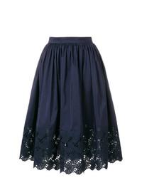 Темно-синяя пышная юбка с вышивкой от Lanvin