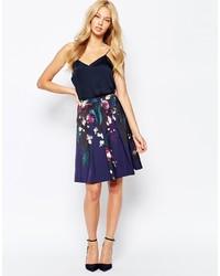 Темно-синяя пышная юбка с цветочным принтом от Ted Baker
