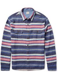 Темно-синяя рубашка с длинным рукавом в горизонтальную полоску