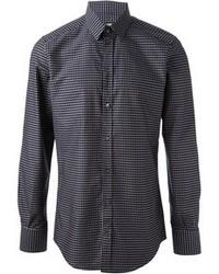 Темно-синяя рубашка с длинным рукавом в горошек