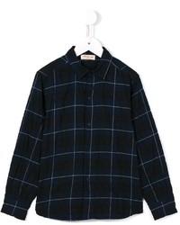 Темно-синяя рубашка с длинным рукавом в шотландскую клетку