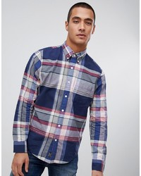 Мужская темно-синяя рубашка с длинным рукавом в шотландскую клетку от Abercrombie & Fitch