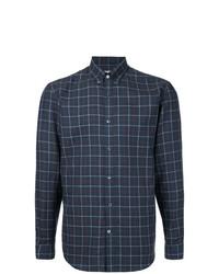 Мужская темно-синяя рубашка с длинным рукавом в шотландскую клетку от Gieves & Hawkes