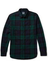 Мужская темно-синяя рубашка с длинным рукавом в шотландскую клетку от J.Crew
