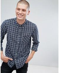 Мужская темно-синяя рубашка с длинным рукавом в шотландскую клетку от Lee