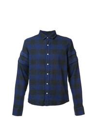 Мужская темно-синяя рубашка с длинным рукавом в шотландскую клетку от Mostly Heard Rarely Seen