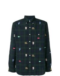 Мужская темно-синяя рубашка с длинным рукавом в шотландскую клетку от Polo Ralph Lauren