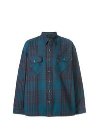Мужская темно-синяя рубашка с длинным рукавом в шотландскую клетку от Yeezy