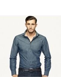 Темно-синяя рубашка с длинным рукавом из шамбре
