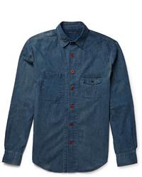 Мужская темно-синяя рубашка с длинным рукавом из шамбре
