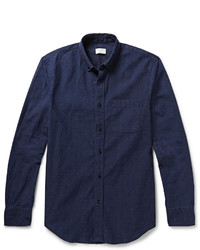 Мужская темно-синяя рубашка с длинным рукавом из шамбре от Club Monaco