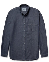 Мужская темно-синяя рубашка с длинным рукавом из шамбре от Folk