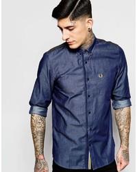 Мужская темно-синяя рубашка с длинным рукавом из шамбре от Fred Perry