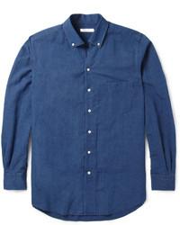 Мужская темно-синяя рубашка с длинным рукавом из шамбре от Loro Piana