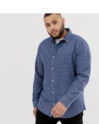 Мужская темно-синяя рубашка с длинным рукавом из шамбре от ONLY & SONS