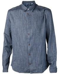 Мужская темно-синяя рубашка с длинным рукавом из шамбре от Paul Smith