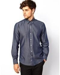 Мужская темно-синяя рубашка с длинным рукавом из шамбре от Red Eleven