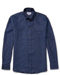 Мужская темно-синяя рубашка с длинным рукавом из шамбре от Richard James