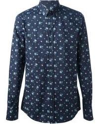 Темно-синяя рубашка с длинным рукавом с принтом