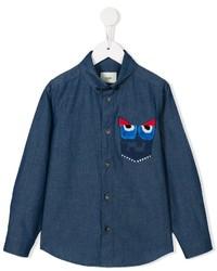 Детская темно-синяя рубашка с длинным рукавом с принтом для мальчику от Fendi