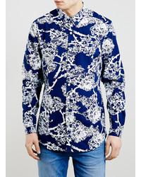 Темно-синяя рубашка с длинным рукавом с цветочным принтом