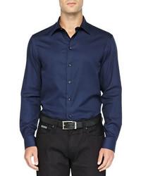 Темно-синяя рубашка с длинным рукавом
