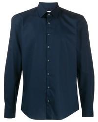 Мужская темно-синяя рубашка с длинным рукавом от Calvin Klein