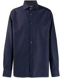 Мужская темно-синяя рубашка с длинным рукавом от Corneliani