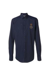 Мужская темно-синяя рубашка с длинным рукавом от Dolce & Gabbana