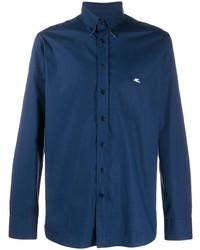 Мужская темно-синяя рубашка с длинным рукавом от Etro