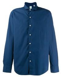 Мужская темно-синяя рубашка с длинным рукавом от Finamore 1925 Napoli