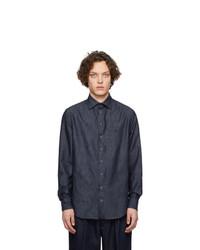 Мужская темно-синяя рубашка с длинным рукавом от Giorgio Armani