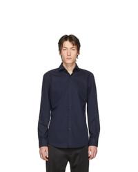Мужская темно-синяя рубашка с длинным рукавом от Hugo