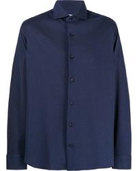 Мужская темно-синяя рубашка с длинным рукавом от Salvatore Piccolo