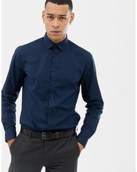 Мужская темно-синяя рубашка с длинным рукавом от Solid