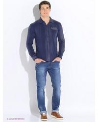 Мужская темно-синяя рубашка с длинным рукавом от Von Dutch