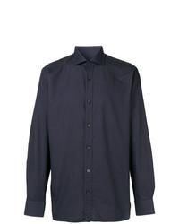 Мужская темно-синяя рубашка с длинным рукавом от Z Zegna