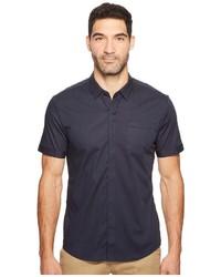 Темно-синяя рубашка с коротким рукавом в вертикальную полоску