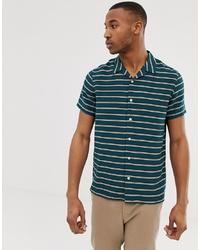 Мужская темно-синяя рубашка с коротким рукавом в горизонтальную полоску от PS Paul Smith
