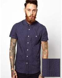 Темно-синяя рубашка с коротким рукавом в горошек